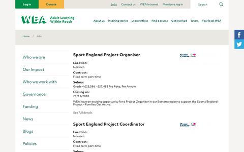 Screenshot of Jobs Page wea.org.uk - Jobs | WEA - captured Nov. 18, 2018