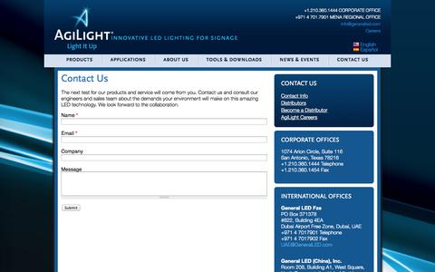 Screenshot of Contact Page agilight.com - Contact Us | Agilight - captured Oct. 4, 2014