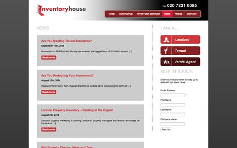 Screenshot of Press Page inventoryhouse.co.uk - News Archives - Inventory House - captured Sept. 30, 2014