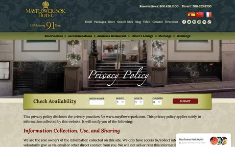 Screenshot of Privacy Page mayflowerpark.com - Privacy Policy - Mayflower Park HotelMayflower Park Hotel - captured Oct. 17, 2018