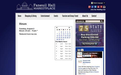 Screenshot of Hours Page faneuilhallmarketplace.com - Hours :: Faneuil Hall Marketplace :: Mall in Boston, MA - captured Aug. 3, 2016