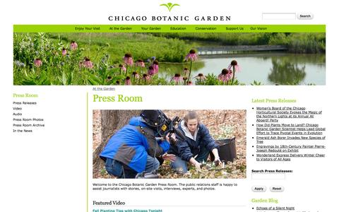 Screenshot of Press Page chicagobotanic.org - Press Room | Chicago Botanic Garden - captured Oct. 31, 2014