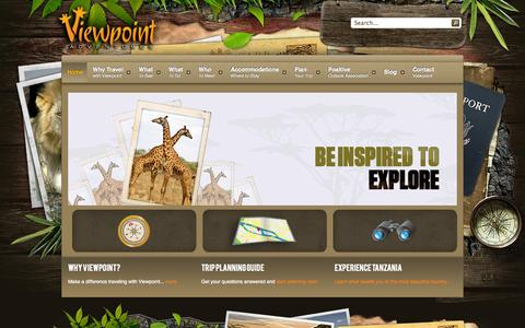 Screenshot of Home Page viewpointadventures.com - Tour Tanzania, Experience culture, wild animals and safari with Viewpoint Adventures - captured Oct. 7, 2014