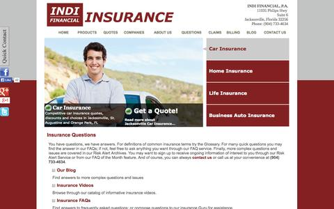Screenshot of FAQ Page indifinancial.com - INDI FINANCIAL, P.A. - Jacksonville, Florida 32256 - captured Oct. 3, 2014