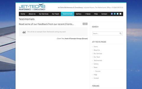 Screenshot of Testimonials Page jet-techs.com - jet-techs.com   » Testimonials - captured Oct. 6, 2014