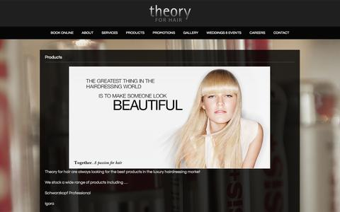 Screenshot of Products Page theoryforhair.com.au - Products | Theory for Hair - captured Sept. 30, 2014