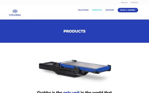 Screenshot of Products Page grabba.com - Products - Grabba - captured Sept. 30, 2018