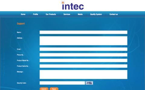 Screenshot of Support Page intec.co.in - Buy Home Appliances Online India   Electronic Home Appliances - captured Sept. 18, 2014