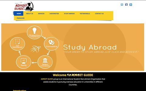Screenshot of Home Page adroitguide.com - Home | Adroit Guide | ADROIT GUIDE group is an International Student Recruitment Organization that assists students in pursuing overseas education in universities in SWEDEN, FRANCE, FINLAND, NORWAY, DENMARK, IRELAND, GERMANY and the rest of European  - captured July 23, 2016