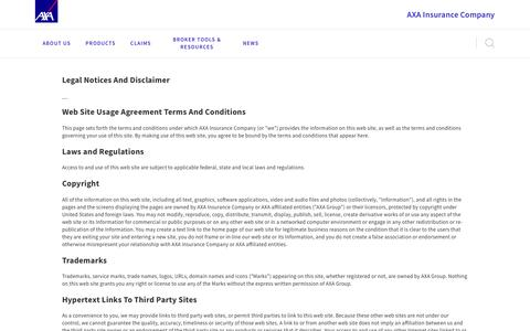 Screenshot of Terms Page axainsurancecompany.com - Legal - captured July 28, 2018