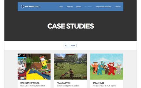 Screenshot of Case Studies Page synertial.com - Case Studies | Synertial | Cutting Edge Motion Capture - captured Nov. 2, 2014