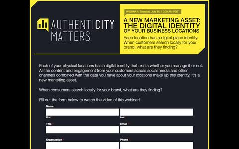 Screenshot of Landing Page momentfeed.com - Authenticity Matters - Webinar Series - captured Dec. 29, 2016