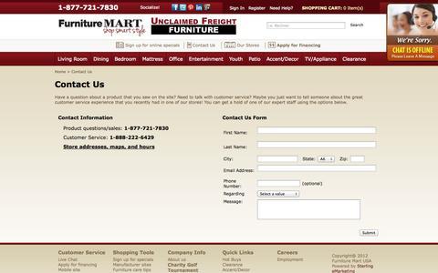 Screenshot of Contact Page thefurnituremart.com - Contact Us | The Furniture Mart - captured Sept. 19, 2014