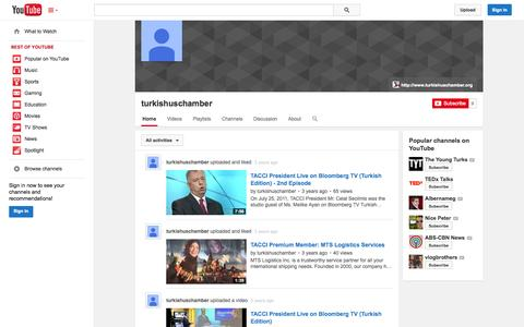 Screenshot of YouTube Page youtube.com - turkishuschamber  - YouTube - captured Nov. 4, 2014