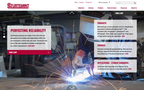 Screenshot of Home Page sturtevantinc.com - Sturtevant, Inc. | Material Processing Equipment - captured Oct. 20, 2018