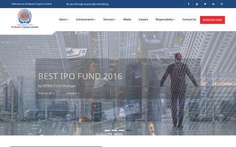 Screenshot of Home Page almasahcapital.com - Al Masah Capital - Alternative Investments I Asset Management - captured Oct. 3, 2018
