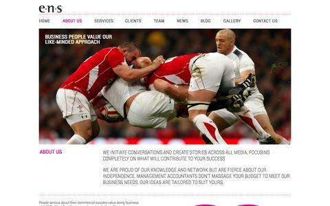 Screenshot of About Page ensltd.com - About Us | London Sports Agency | ENS Ltd - captured Sept. 26, 2014