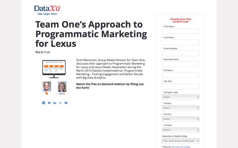 Screenshot of Landing Page dataxu.com - Webinar Replay: Team One Programmatic Marketing Lexus - captured Aug. 17, 2016