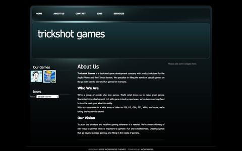 Screenshot of About Page trickshotgames.com - Trickshot Games   » About Us - captured May 11, 2017