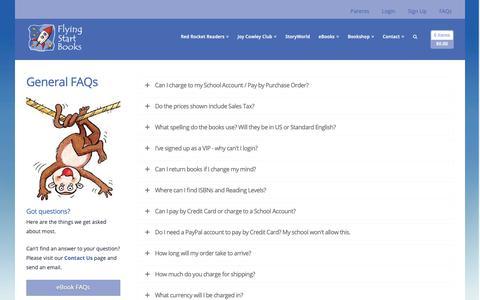 Screenshot of FAQ Page flyingstartbooks.com - FAQs - Flying Start Books - captured Oct. 10, 2018