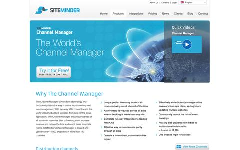 Screenshot of Products Page siteminder.com - Hotel Channel Manager by SiteMinder - captured Oct. 10, 2014
