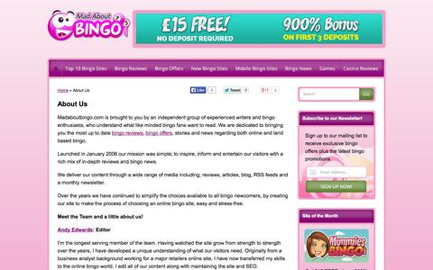 Screenshot of About Page madaboutbingo.com - About Us   Meet The Team   Mad About Bingo - captured Sept. 24, 2014