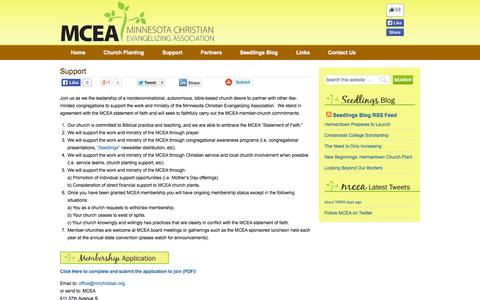 Screenshot of Support Page mnchristian.org - Support — MCEA Minnesota Christian Evangelizing Association - captured Oct. 7, 2014