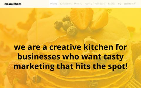 Screenshot of Home Page moocreations.co.uk - moocreations- The creative kitchen for tasty marketing and communications which your clients LOVE! - captured Sept. 19, 2015