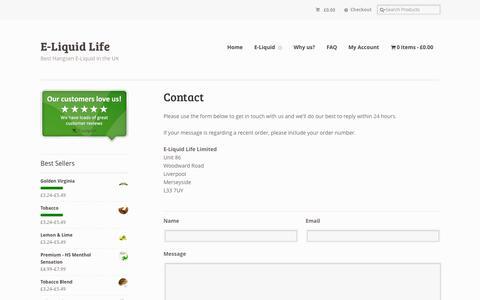 Screenshot of Contact Page eliquidlife.co.uk - Contact | E-Liquid Life UK - captured Sept. 26, 2014