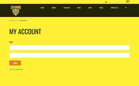 Screenshot of Signup Page Login Page colombofc.com - My Account – Colombo FC - captured Nov. 29, 2018