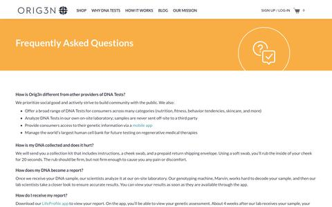 Screenshot of FAQ Page orig3n.com - Frequently Asked Questions – Orig3n - captured Jan. 23, 2018