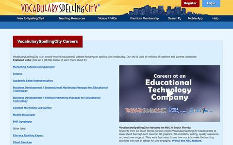 Screenshot of Jobs Page spellingcity.com - VocabularySpellingCity Careers   VocabularySpellingCity - captured Oct. 3, 2018