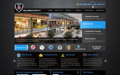 Screenshot of Home Page g3security.co.uk - Security Guards London, G3 Security Ltd, Security Companies London, Event Security Company - captured Oct. 1, 2014