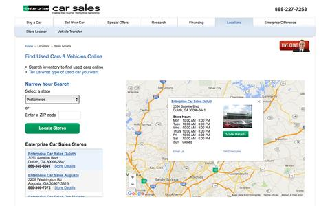 Screenshot of Contact Page Locations Page enterprisecarsales.com - Find Used Cars & Vehicles Online - Enterprise Car Sales Locations - captured Dec. 10, 2015