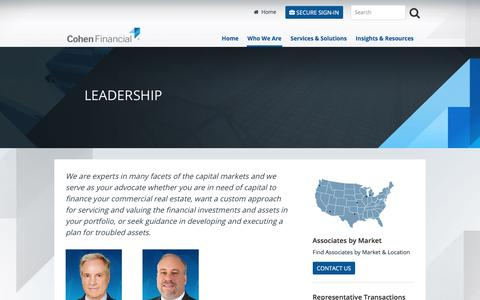 Screenshot of Team Page cohenfinancial.com - Leadership | Cohen Financial - captured July 19, 2018
