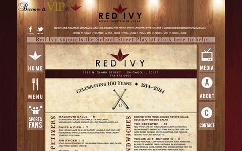 Screenshot of Menu Page redivychicago.com - Red Ivy Wrigleyville Restaurant Authentic Chicago Pizza - captured Oct. 2, 2014