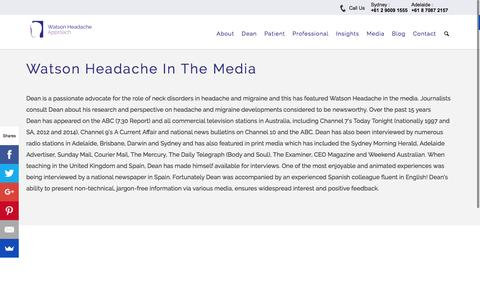 Screenshot of Press Page watsonheadache.com - Watson Headache In The Media - captured Feb. 26, 2016