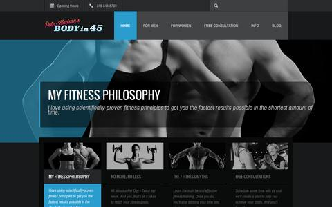Screenshot of Home Page bodyin45.com - Pete Hudson's Body in 45 | 45 minutes / 2 days a week is all it takes!Pete Hudson's Body in 45 | 45 minutes / 2 days a week is all it takes! - captured Oct. 2, 2014
