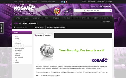 Screenshot of Privacy Page kosmic.com.au - Privacy & Security - Online Music Store Australia - Kosmic Sound - captured Oct. 27, 2014
