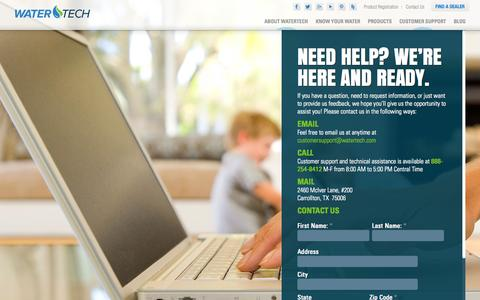 Screenshot of Contact Page watertech.com - Need Help? Contact the Water Purification Experts Today - Watertech - captured Oct. 7, 2014