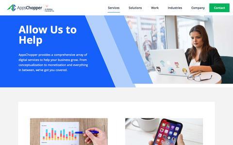 Screenshot of Services Page appschopper.com - Our Mobile App & Web Development Services - AppsChopper - captured July 3, 2019