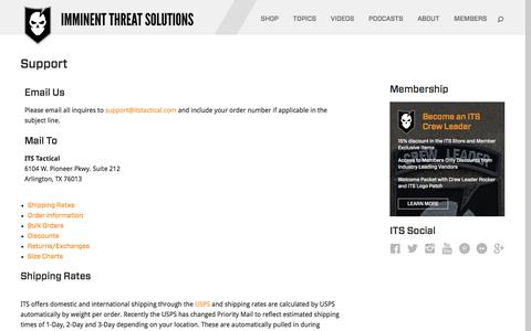 Screenshot of Contact Page Support Page itstactical.com - Support - ITS Tactical - captured Nov. 25, 2016