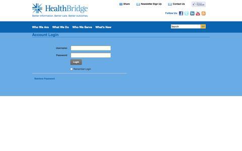 Screenshot of Login Page healthbridge.org - User Log In - captured Sept. 29, 2014