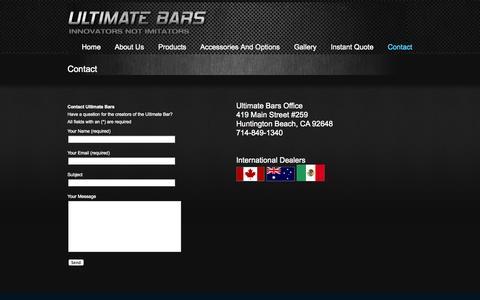 Screenshot of Contact Page ultimatebars.com - Contact « Custom Portable LED Bars | Ultimate Bars Custom Portable LED  Bars | Ultimate Bars - captured Sept. 30, 2014