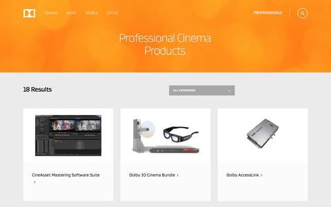 Screenshot of Products Page dolby.com - Professional Cinema Products - captured Nov. 24, 2016