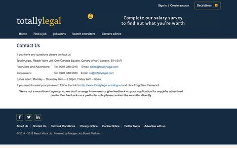Screenshot of Contact Page totallylegal.com - Contact Us - captured Sept. 23, 2018