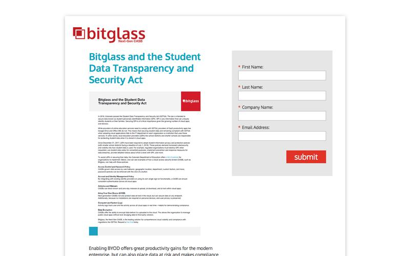 Bitglass and the Student Data Transparency and Security Act