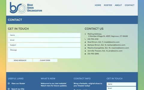 Screenshot of Contact Page bsoinc.com - Contact | Brad Simon Organization - captured Feb. 15, 2016