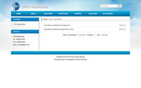 Screenshot of Case Studies Page dtscn.com - Case Studies_DTS Mechelec Ltd - captured Sept. 24, 2016