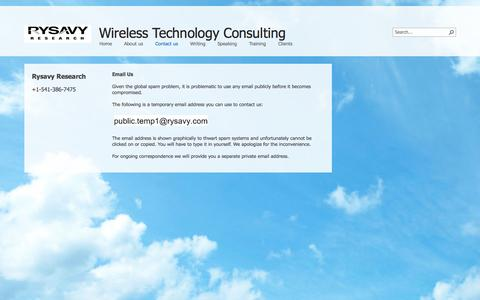 Screenshot of Contact Page rysavy.com - Contact us - captured Oct. 7, 2014